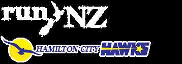 RunNZ Logo and Hamilton City Hawks Logo